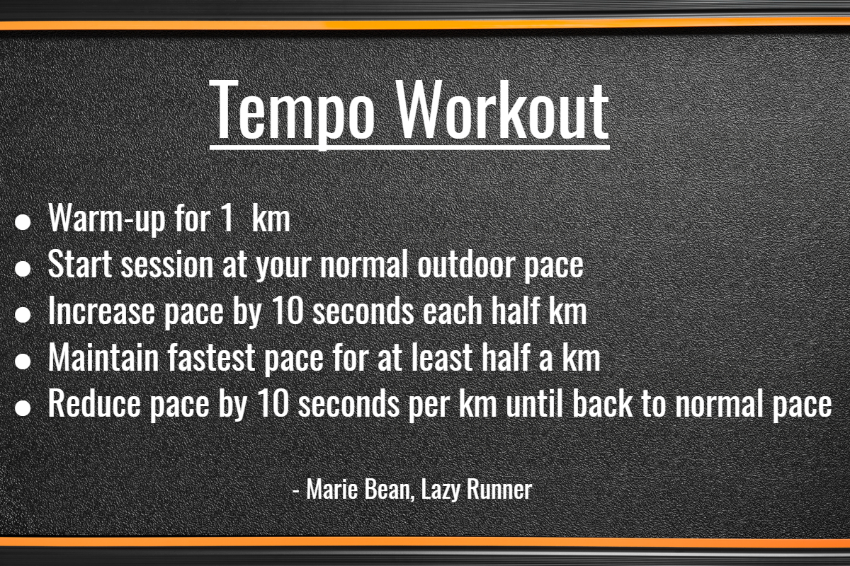 Tempo Workout, Marie Bean- Train On Your Treadmill- NordicTrack